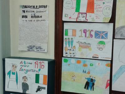 Some more of the wonderful children's artistic impressions of the Rising on display at the launch. (Photo D. Breatnach(