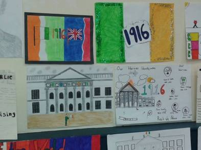 Some of the wonderful children's artistic impressions of the Rising on display at the launch