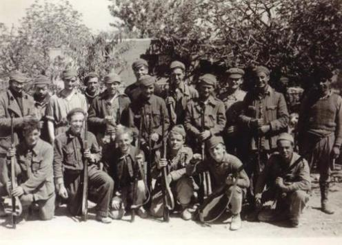 Photograph taken of some of the Connolly unit in Spain