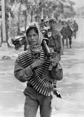 The young Khmer Rouge guerrilla soldiers enter17 April 1975 Phnom Penh, the day Cambodia fell under the control of the Communist Khmer Rouge forces.