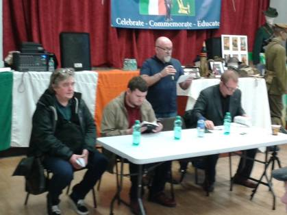 The panel at the launch (seated L-R): Hugo McGuinness, Donal Fallon, Brian . Eamonn O'Hara (standing) was MC.