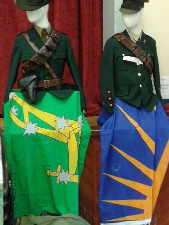 Some of the uniforms and flags displayed by Irish Volunteers.org