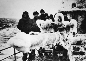 Allied warship in Artic waters during WWII giving some idea of the conditions