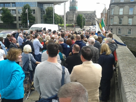 """Crowd at erection of plaque to rename the """"O'Donvan Ros"""