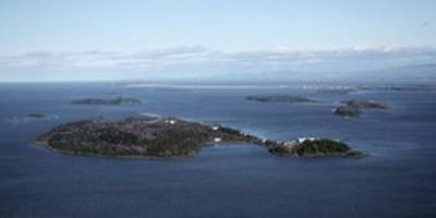 The island mass graveyard of Grosse Isle, Quebec, from a distance (Photo from Internet)