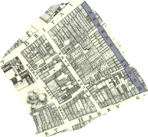 The streets and lanes of the old street market quarter now buried under the ILAC (Image cropped by Save Moor Street From Demolition from J Roques Map 1754, sourced on Internet)