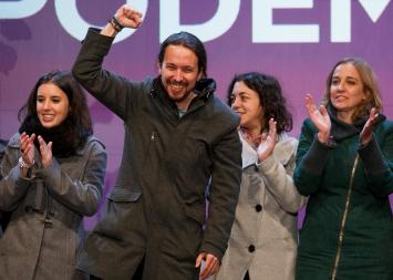 Pablo Iglesias celebrating Podemos' results in elections