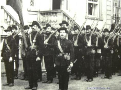 Irish Citizen Army on parade at the Irish Transport & General Workers' Union building and grounds in Fairview, Dublin