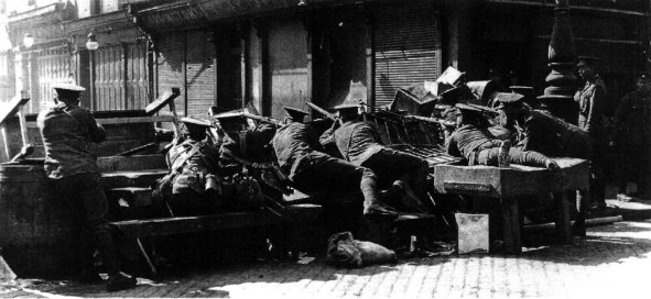 British barricade at junction of Parnell Street and Moore Street, Easter week, 1916