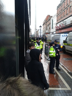 North Earl St. facing westward, Police and their vans (Photo D. Breatnach)