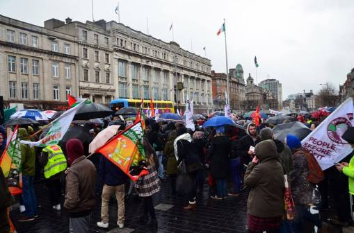 Section of anti-racist rally on central reservation O'Connell Street, looking southward. (Photo from ENAR Ireland FB page).