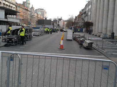 Some of the physical security measures -- view southwards along O'Connell St. from the Spire