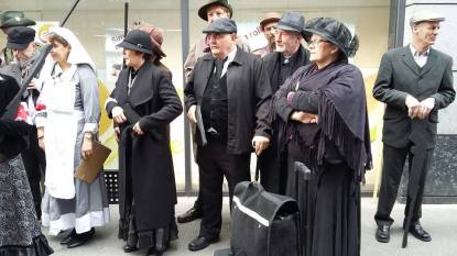 Reenactors gathering in Moore Street (Photo: Davidina Spinderella Bradshaw