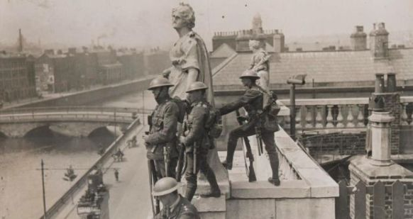 British Soldiers on roof of the Customs House, almost certainly after the 1916 Rising (source Internet)
