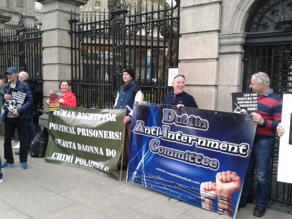 Banner of the Dublin Anti-Internment Committee alongside another outside Leinster House