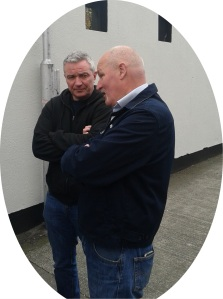 Terry Lyons (foreground), moving spirit behind the commemoration, in private conversation after the event