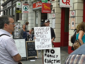 IHN demonstration outside Lynam and the fundamental message on placard