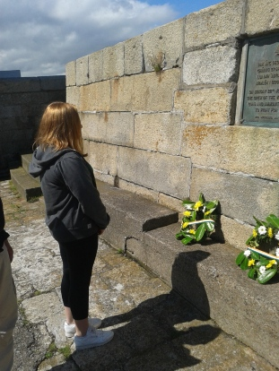 Ellie after laying wreath in memory of the dead and injured in the Bachelors' Walk massacre