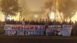 Jobstown Not Guilty Banner Crowd