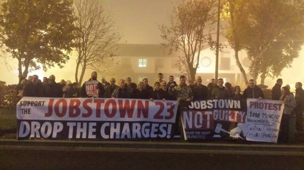 Jobstown Not Guilty Banner Crowd