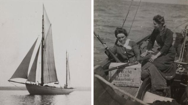 The Asgard, Molly Childers and Mary Spring-Rice on board at Howth