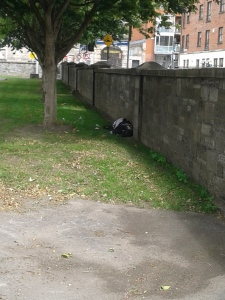 A sleeping bag, perhaps, against the wall within the monument park weeks after reopening. (Photo: C.Sulish)