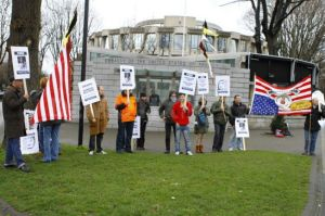 Part of the gathering at the US Embassy in solidarity with Peltier and seeking his urgent release in 2012