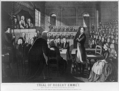 Drawing depicting the trial of Robert Emmet in Green Street Courthouse, Dublin