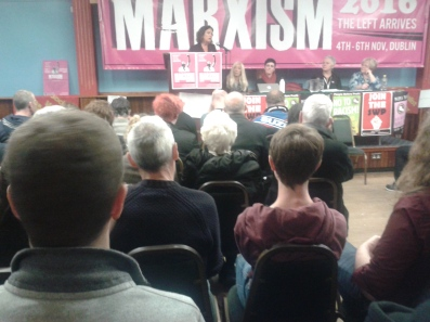 Brid Smith of the SWP (also SWP/AAA) addressing When Governments Lie public meeting at Marxism 2016 weekend (Photo D.Breatnach)