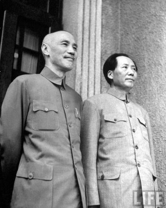 L-R: Chiang Kai Shek, Mao Zedong, photographed in 1945 during short-lived repetition of Chinese Nationalist-Communist alliance against Japanese invasion (photo: Jack Wilkes, Internet)