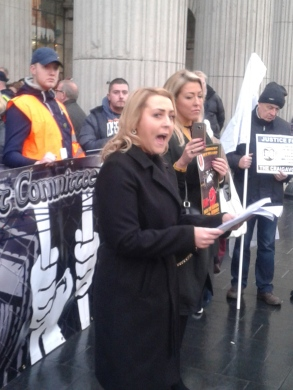 Cait Trainor speaking at rally at GPO (Photo: T. Conlon)
