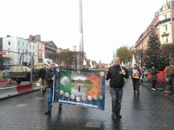 Duleek Independent Republicans in O'Connell Street with their new banner (photo: T..Conlon)