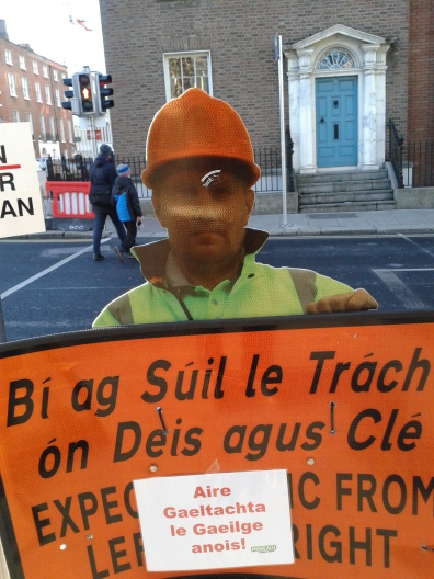 Tongue-in cheek use of road traffic sign (Photo D.Breatnach)