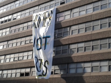 Closer view of banner on Tara Street side of occupied Apollo House (Photo: D.Breatnach)