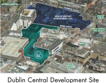 Drawing showing how the proposed shopping centre (dark blue) and the current ILAC light green are taking over the quarter and squeezing the Moore St. market (source: Internet)