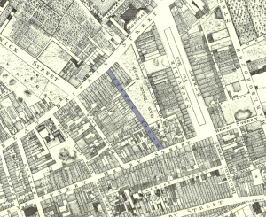 Roques map of the Moore Street quarter showing the streets lost under the present ILAC (source: Internet)