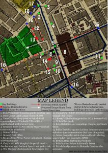 Map developed by Save Moore Street From Demolition superimposed on an old map of the area. The area taken by the ILAC is shown in green and points of historic interest are numbered.