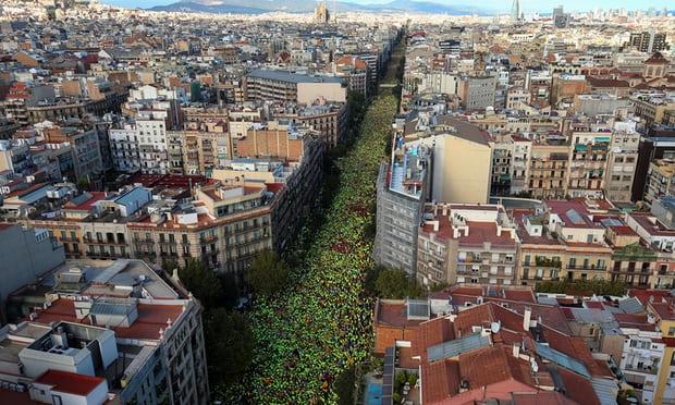 Huge Barcelona Independence Demonstration Diada 11 Sep2017
