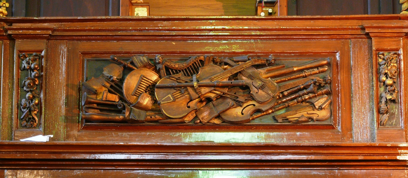 St Michans Irish Music Instruments carving
