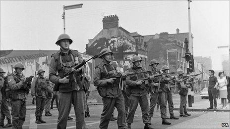 British Soldiers Helmeted Belfast 1969