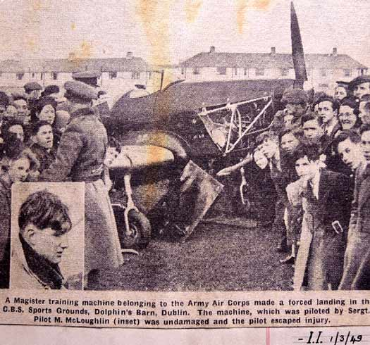 Pilot Michael McGloughlin after a forced landing in Dolphin's Barn, 1949